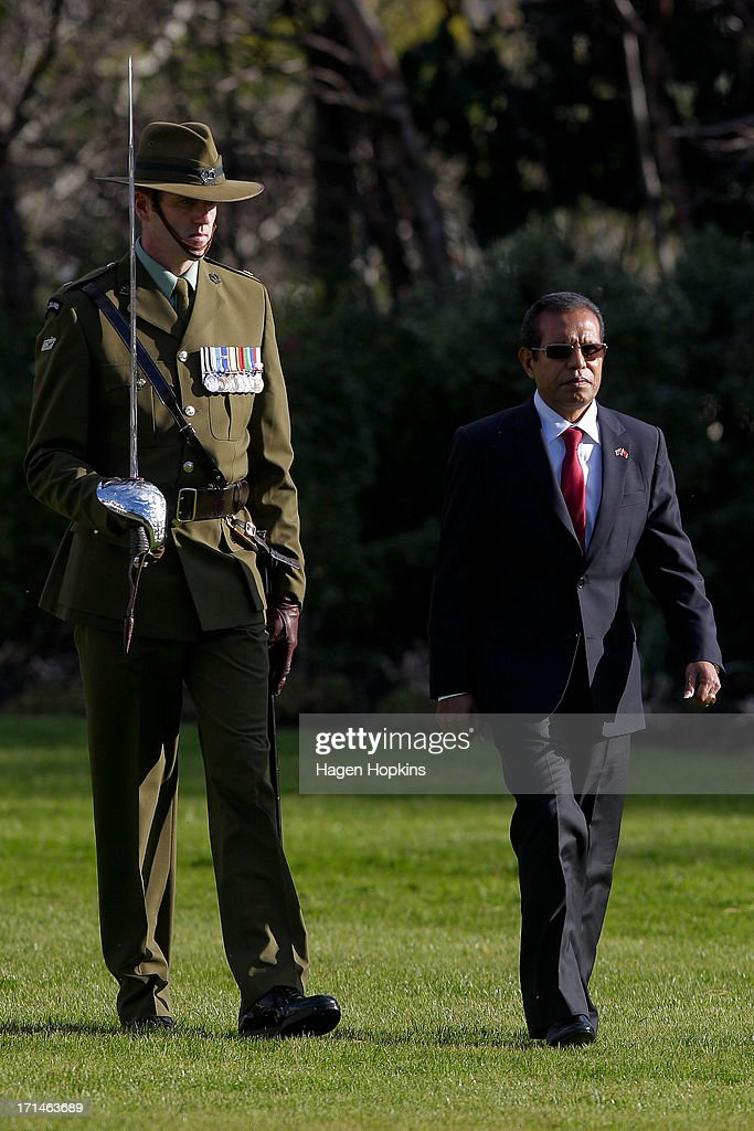 President of the Democratic Republic of Timor-Leste, Taur Matan Ruak inspects the guard during a State Welcome at Government House on June 25, 2013 in Wellington, New Zealand. President Taur Matan Ruak of the Democratic Republic of Timor-Leste is in Wellington on an official visit until Thursday, June 27.
