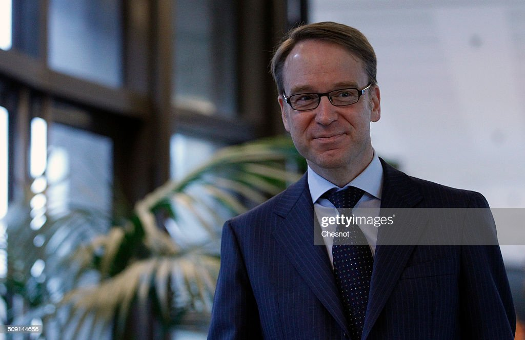 President of the Deutsche Bundesbank, <a gi-track='captionPersonalityLinkClicked' href=/galleries/search?phrase=Jens+Weidmann&family=editorial&specificpeople=6917233 ng-click='$event.stopPropagation()'>Jens Weidmann</a> arrives to attend a meeting at the French Ministry of Finance on February 9, 2016, in Paris, France. Michel Sapin meets Wolfgang Schauble for a Franco-German Economic Council.
