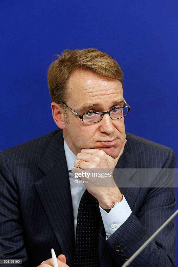 President of the Deutsche Bundesbank, <a gi-track='captionPersonalityLinkClicked' href=/galleries/search?phrase=Jens+Weidmann&family=editorial&specificpeople=6917233 ng-click='$event.stopPropagation()'>Jens Weidmann</a> attends a press conference at the French ministry of finances on February 9, 2016, in Paris, France. French Finance Minister, Michel Sapin meets German Finance Minister Wolfgang Schauble for a Franco-German Economic Council.