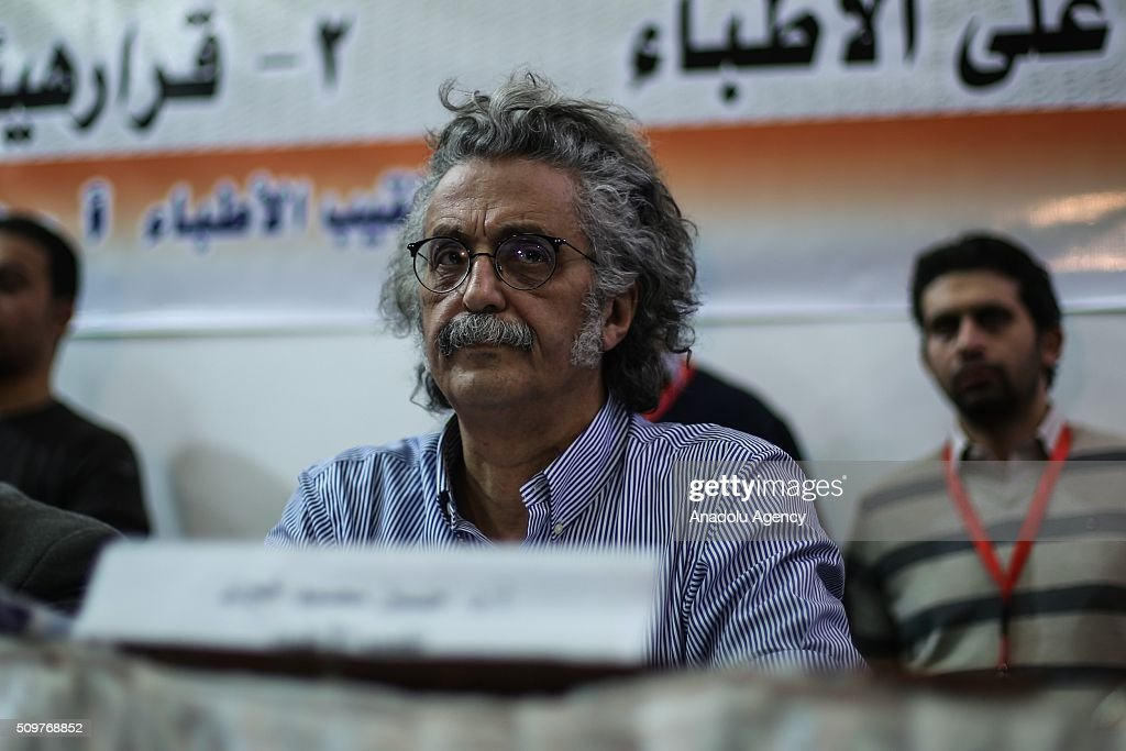 President of the Doctors' Union Hussein Mahmoud Hayri attends an extraordinary meeting in the union building in the capital Cairo in order to protest two doctors being beaten up by nine police officers last month, on February 12, 2016. Many medical workers gathered around the union building during the meeting to protest security forces' practices towards health workers.