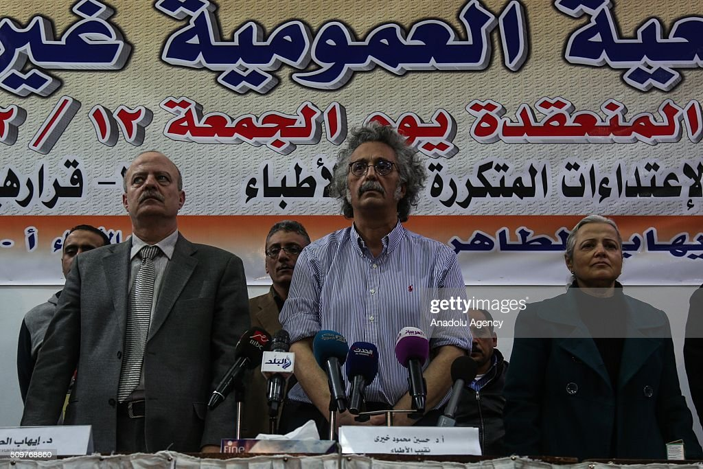 President of the Doctors' Union Hussein Mahmoud Hayri (C) attends an extraordinary meeting in the union building in the capital Cairo in order to protest two doctors being beaten up by nine police officers last month, on February 12, 2016. Many medical workers gathered around the union building during the meeting to protest security forces' practices towards health workers.