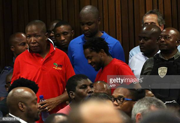 President of the Economic Freedom Fighters Julius Malema arrives for a hearing in the case of the public protector vs the President of the Republic...