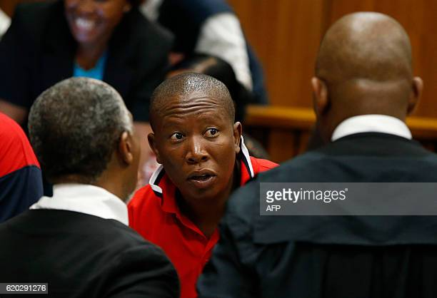 President of the Economic Freedom Fighters Julius Malema looks on during a hearing in the case of the public protector vs the President of the...