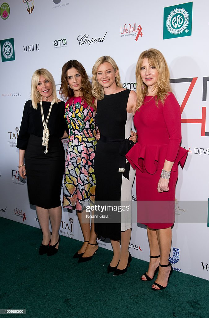 President of the Environmental Media Association Debbie Levin Livia Firth Amy Smart and Evie Evangelou attend the F4D First Ladies Luncheon at The...