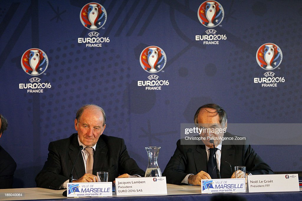 President of the Euro 2016 SAS Jacques Lambert and of the French Football Federation Noel le Graet during the EURO 2016 Steering Committee Meeting, on October 17, 2013 in Marseille, France.