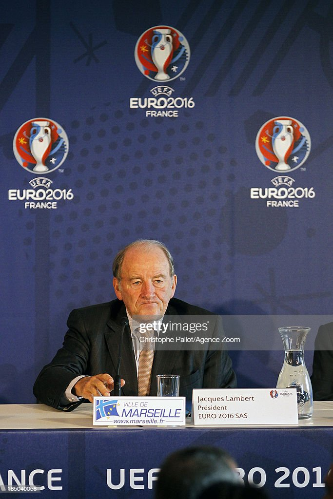 President of the Euro 2016 SAS Jacques Lambert during the EURO 2016 Steering Committee Meeting, on October 17, 2013 in Marseille, France.