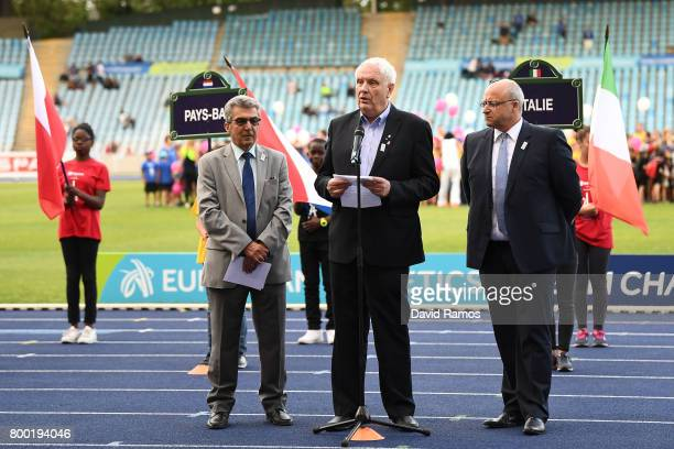 President of the European Athletics Association Svein Arne Hansen delivers a speech during the opening ceremony of the European Athletics Team...