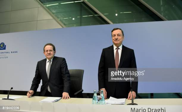 President of the European Central Bank Mario Draghi and Vice President of the ECB Vitor Constancio hold a press conference after ECB Interest Rate...