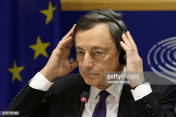 President of the European Central Bank Mario Draghi attends the session titled 'Monetary Dialogue' of European Parliament in Brussels Belgium on...