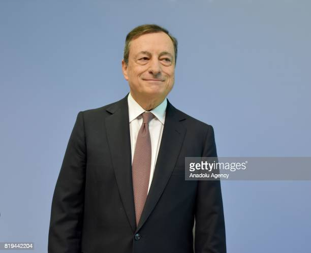 President of the European Central Bank Mario Draghi holds a press conference after ECB Interest Rate Decision was announced in Frankfurt Germany on...