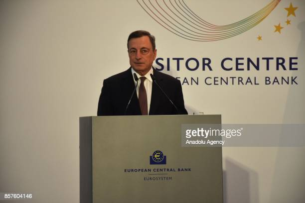 President of the European Central Bank Mario Draghi speaks during the official opening ceremony of the visitor center at European Central Bank...