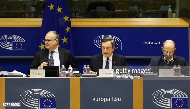 President of the European Central Bank Mario Draghi speaks on a session titled 'Monetary Dialogue' of European Parliament in Brussels Belgium on...