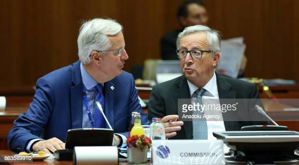 President of the European Commission JeanClaude Juncker and European Chief Negotiator for Brexit Michel Barnier attend the European Council Meeting...