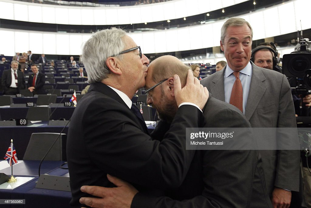 President of the European Commission Jean-Claude Juncker and President of the European Parliament Martin Schulz (R)greet one another in the plenary room of the European Parliament on September 9, 2015 in Strasbourg, France. The 2015 State of the Union speech by EU Commissions President takes place in a decisive year marked by the Greek debt crisis, the asylum and immigration crisis as well as international geopolitical challenges.