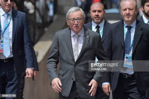 President of the European Commission JeanClaude Juncker arrives for the welcome ceremony at the ancient Greek Theatre of Taormina during the Heads of...