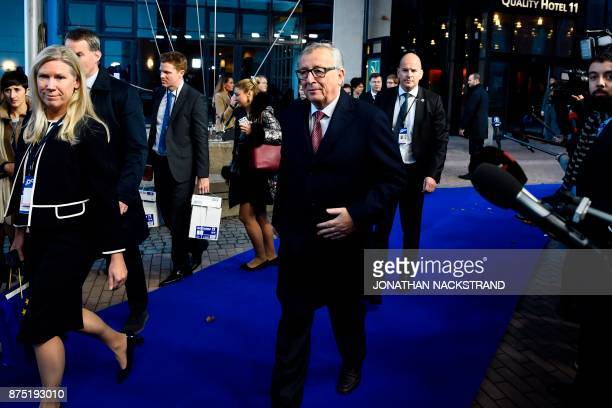 President of the European Commission JeanClaude Juncker arrives to attend the European Social Summit in Gothenburg Sweden on November 17 2017 / AFP...