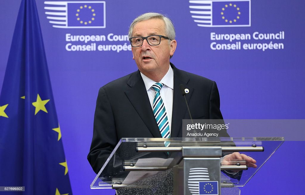 President of the European Commission Jean-Claude Juncker delivers a speech during a joint press conference with the President of the European Council Donald Tusk (not seen) and Japanese Prime Minister Shinzo Abe (not seen) after the EU - Japan leaders' meeting at the EU headquarters in Brussels on May 3, 2016.