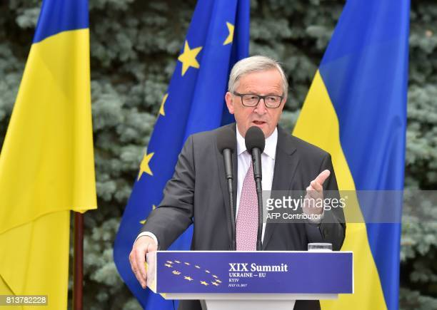 President of the European Commission JeanClaude Juncker delivers a press conference after a UkraineEU summit in Kiev on July 13 2017 PHOTO / Sergei...