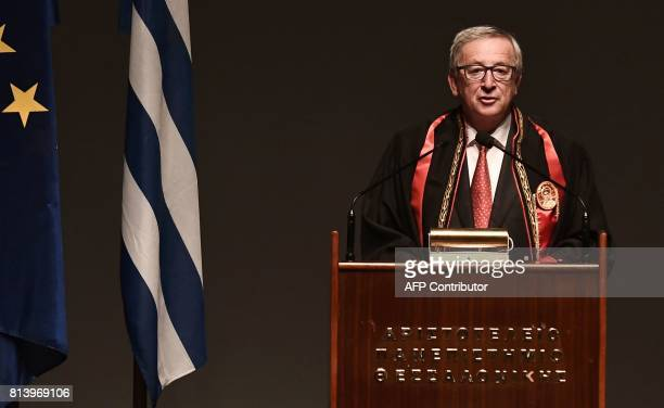 President of the European Commission JeanClaude Juncker delivers a speech after receiving an honorary doctorate award by the Aristotle University of...
