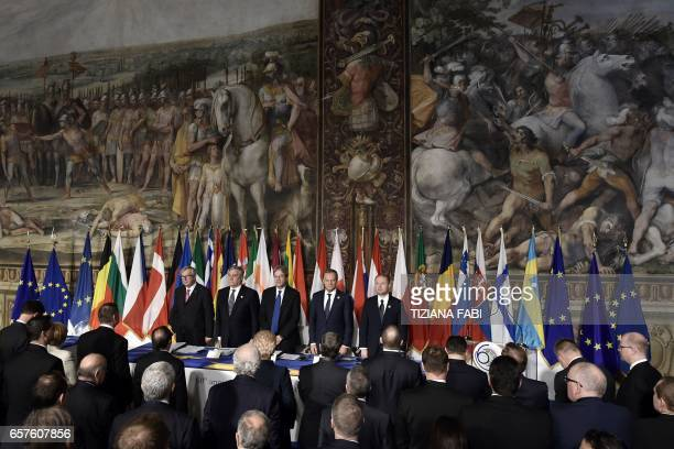 President of the European Commission JeanClaude Juncker EU Parliaments president Antonio Tajani Italy's prime Minister Paolo Gentiloni President of...