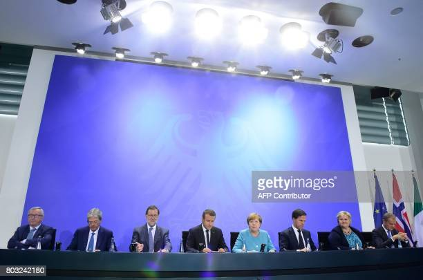 President of the European Commission JeanClaude Juncker Italian Prime Minister Paolo Gentiloni Spain's Prime Minister Mariano Rajoy French President...