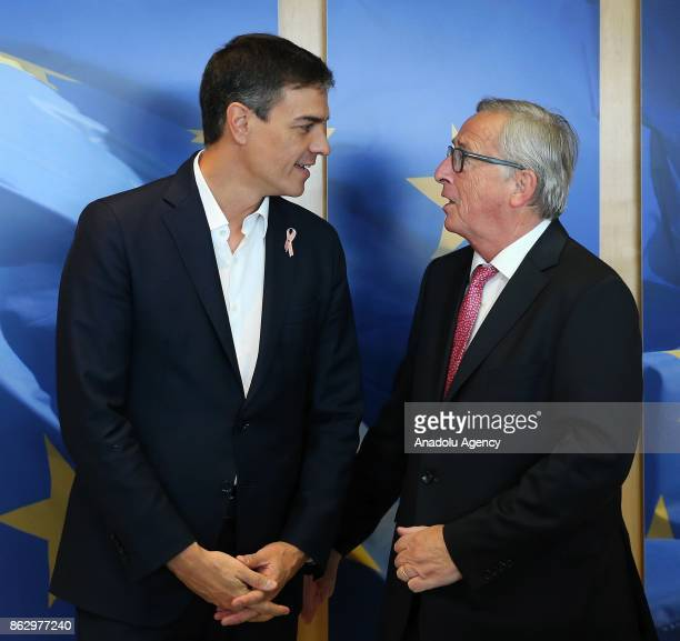 President of the European Commission JeanClaude Juncker meets leader of the Spanish socialist party Pedro Sanchez in Brussels Belgium on October 19...