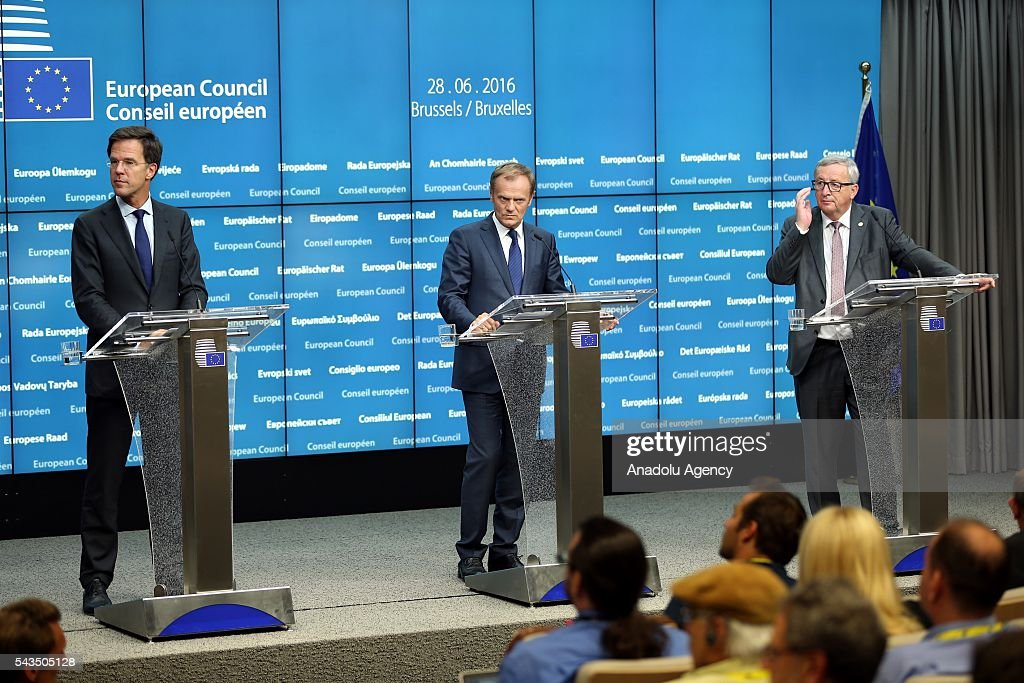 President of the European Commission Jean-Claude Juncker (R), President of the European Council Donald Tusk (C) and Prime Minister of the Netherlands Mark Rutte (L) hold a press conference after EU summit meeting on June 28, 2016 in Brussels, Belgium.