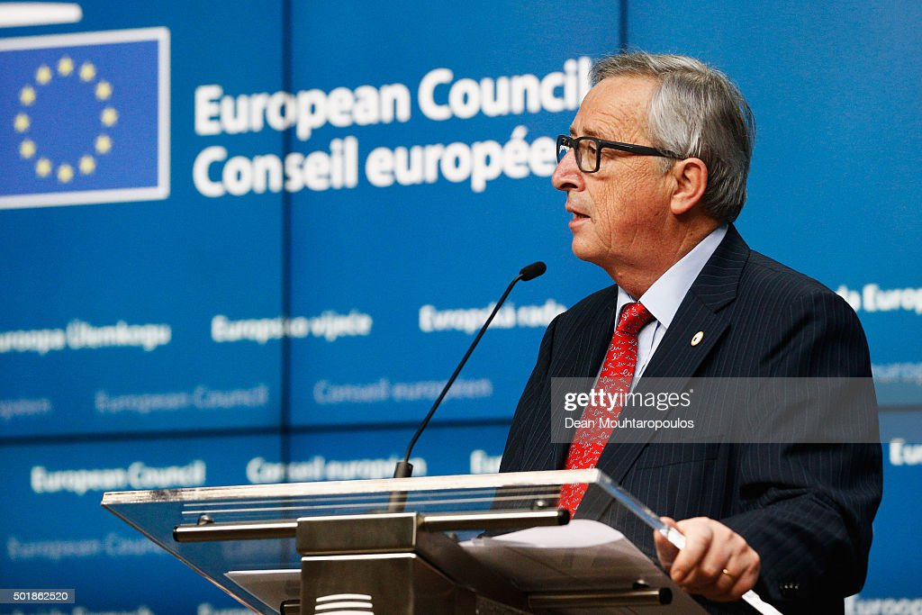 President of the European Commission, <a gi-track='captionPersonalityLinkClicked' href=/galleries/search?phrase=Jean-Claude+Juncker&family=editorial&specificpeople=207032 ng-click='$event.stopPropagation()'>Jean-Claude Juncker</a> speaks to the media after The European Council Meeting In Brussels held at the Justus Lipsius Building on December 18, 2015 in Brussels, Belgium. European leaders are meeting to discuss David Camerons proposed EU reforms, as well as focussing on the migrant crisis, the fight against terrorism and climate change.