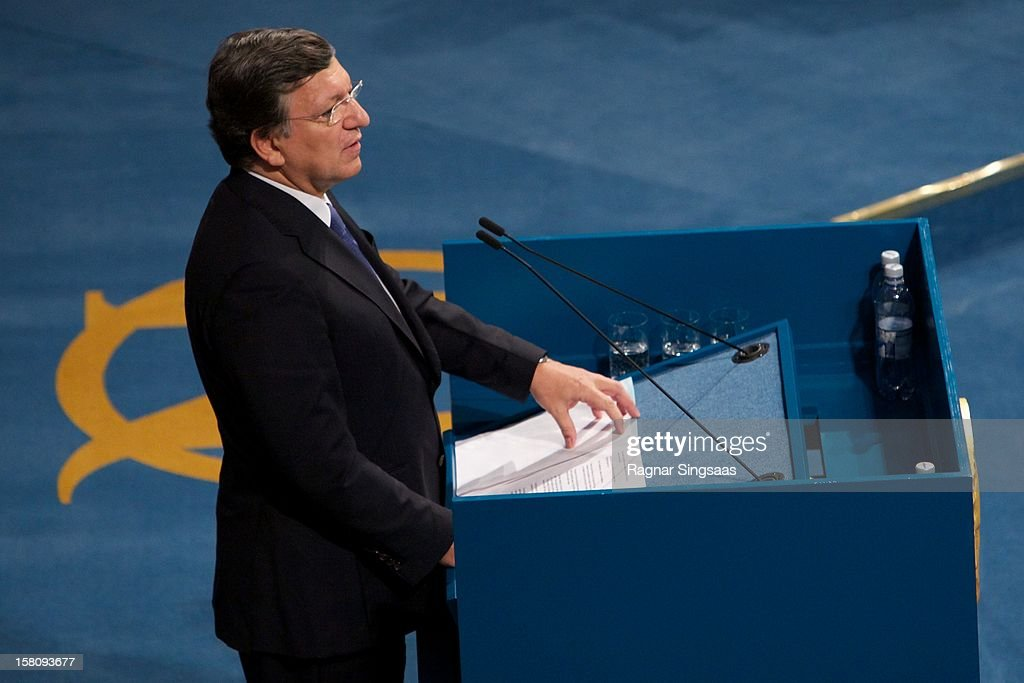President of the European Commission José Manuel Barroso delivers a speech after receiving the Nobel Peace Prize at The Nobel Peace Prize Ceremony at Oslo City Hall on December 10, 2012 in Oslo, Norway.