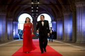 President of the European Commission Jose Manuel Barroso and his wife Maria Margarida Sousa Uva Barroso attend a dinner hosted by Queen Beatrix of...