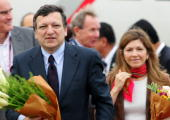 President of the European Commission Jose Manuel Barroso and his wife Margarida Sousa Uva arrives at New Chitose Airport to participate in the G8...