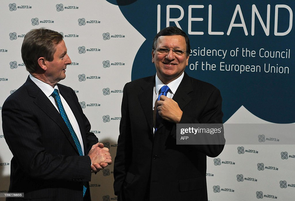 President of the European Commission Jose Manuel Barroso and Irish Prime Minister Enda Kenny arrive for a meeting between the Irish Government and Members of the College of Commissioners at Dublin Castle in Dublin on January 10, 2013 as Ireland began its six-month presidency of the European Union.