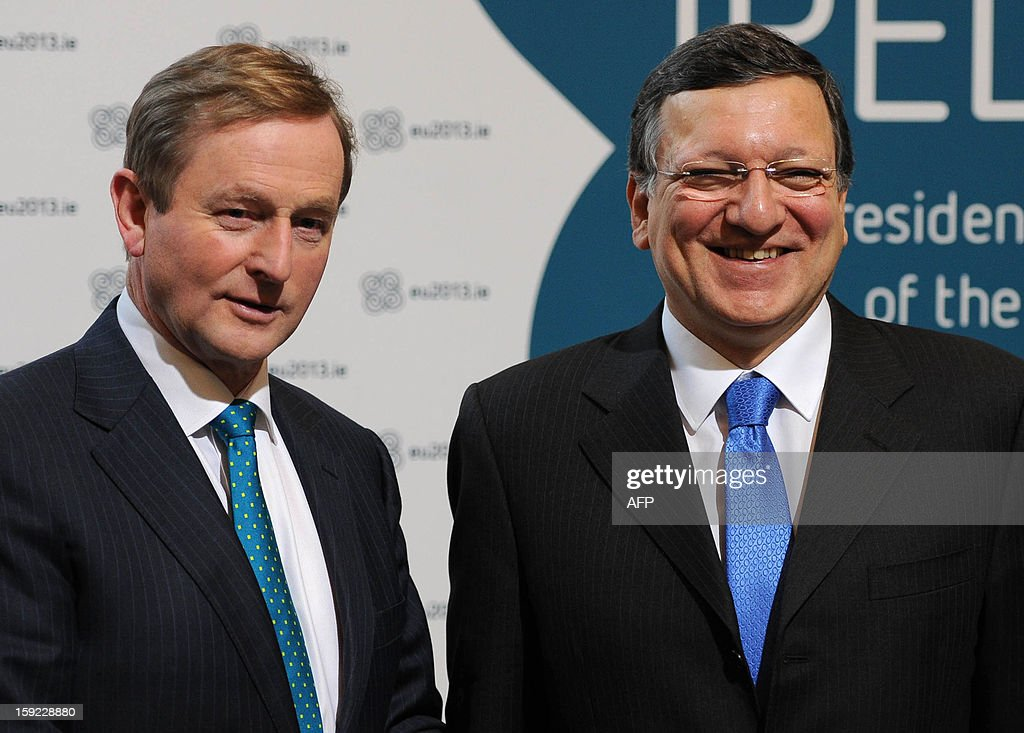 President of the European Commission Jose Manuel Barroso (R) and Irish Prime Minister Enda Kenny (L) arrive for a meeting between the Irish Government and Members of the College of Commissioners at Dublin Castle in Dublin on January 10, 2013 as Ireland began its six-month presidency of the European Union.
