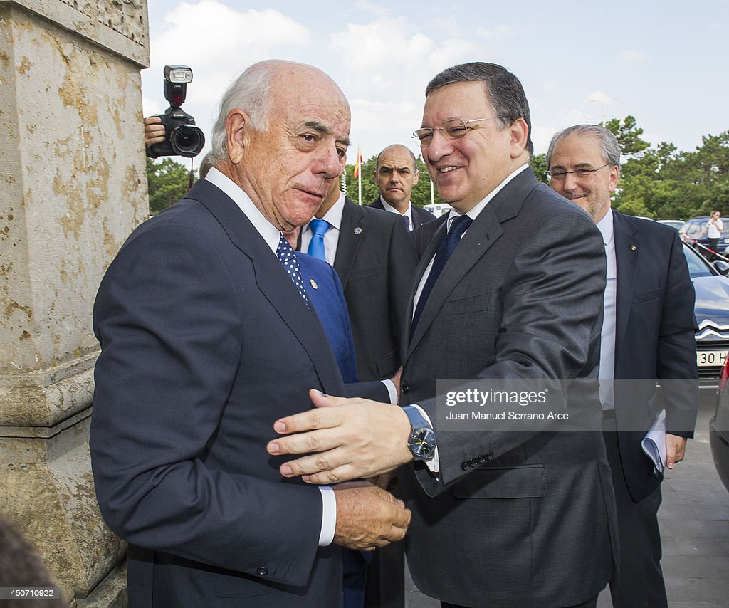 President of the European Commission Jose Manuel Barroso and President of Spanish bank BBVA Francisco Gonzalez attend at the International Menendez Pelayo University on June 16, 2014 in Santander, Spain.