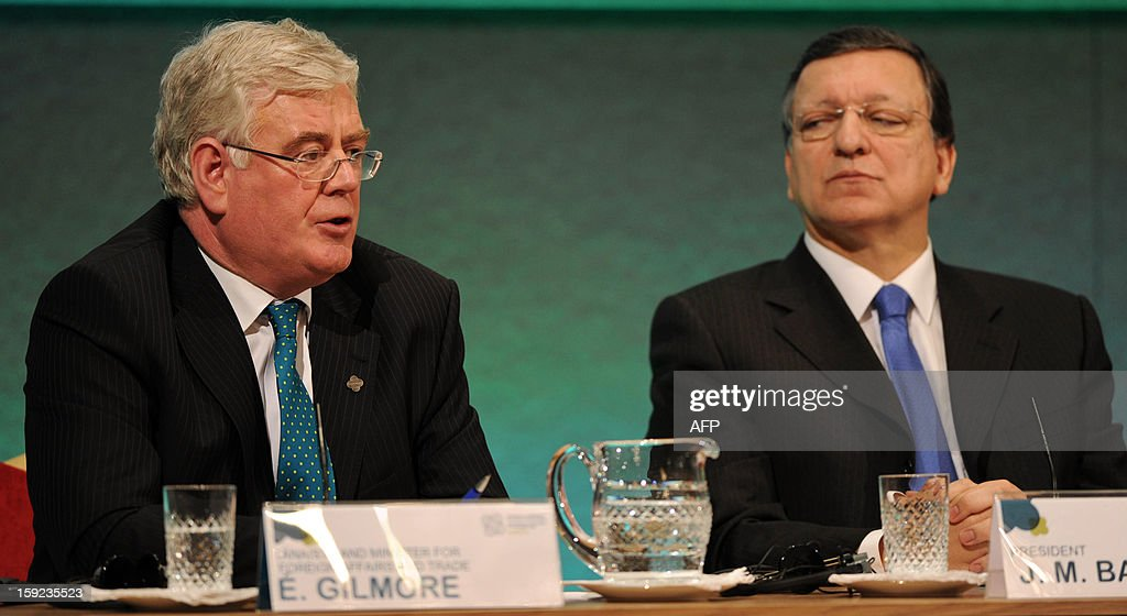 President of the European Commission Jose Manuel Barroso (R) listens as Irish Deputy Prime Minister Eamon Gilmore (L) speaks during a press conference following a meeting between the Irish Government and Members of the College of Commissioners at Dublin Castle in Dublin on January 10, 2013 as Ireland began its six-month presidency of the European Union.