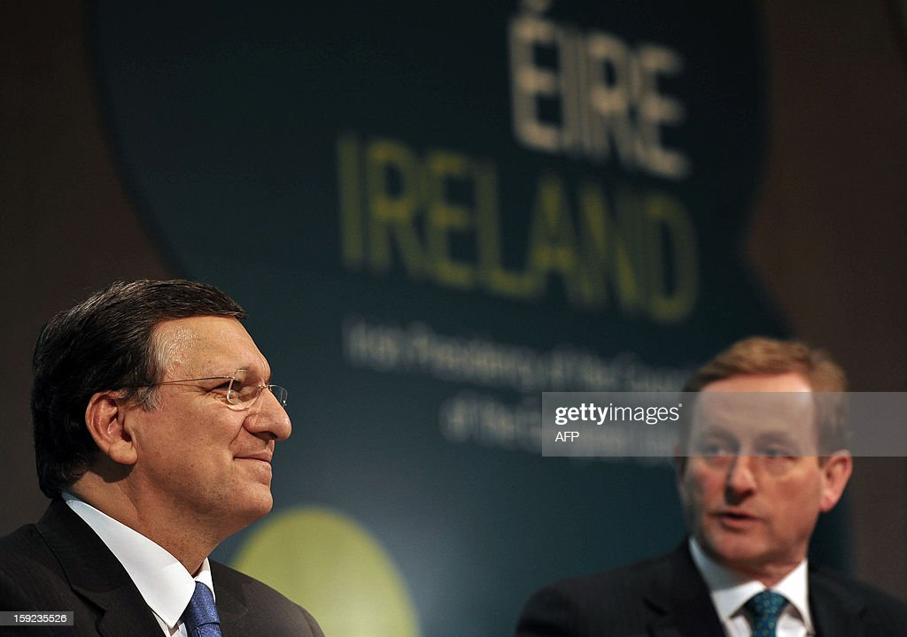 President of the European Commission Jose Manuel Barroso (L) listens as Irish Prime Minister Enda Kenny (R) speaks during a press conference following a meeting between the Irish Government and Members of the College of Commissioners at Dublin Castle in Dublin on January 10, 2013 as Ireland began its six-month presidency of the European Union.