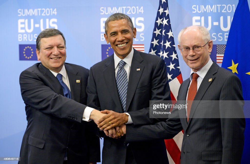 President of the European Commission Jose-Manuel Barroso, President of the United States Barack Obama and President of the European Council Herman van Rompuy shake hands at the European Summit on March 26, 2014 in Brussels, Belgium. The US President met with the European Union's top officials to discuss energy resources, climate change and the situatuion in Ukraine.