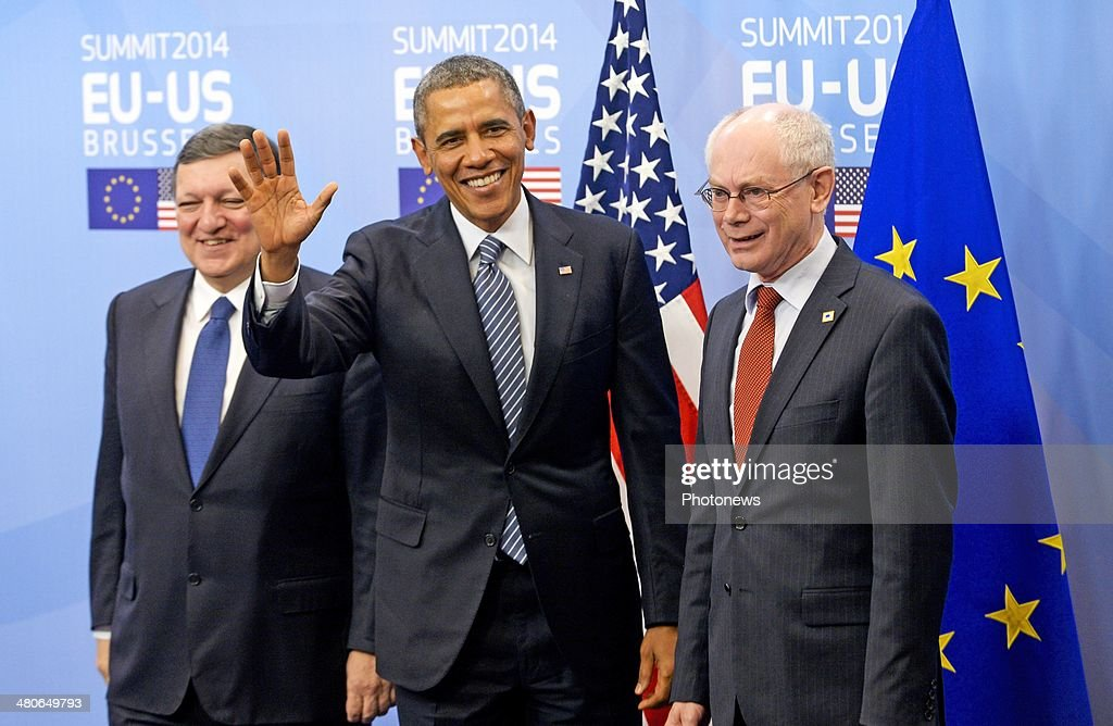 President of the European Commission Jose-Manuel Barroso, President of the United States <a gi-track='captionPersonalityLinkClicked' href=/galleries/search?phrase=Barack+Obama&family=editorial&specificpeople=203260 ng-click='$event.stopPropagation()'>Barack Obama</a> and President of the European Council Herman van Rompuy pose for photographs at the European Summit on March 26, 2014 in Brussels, Belgium. The US President met with the European Union's top officials to discuss energy resources, climate change and the situatuion in Ukraine.