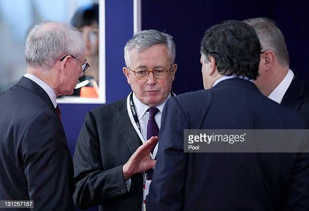 President of the European Counci Herman Van Rompuy Italian Finance Minister Giulio Tremonti and President of the European Commission Jose Manuel...