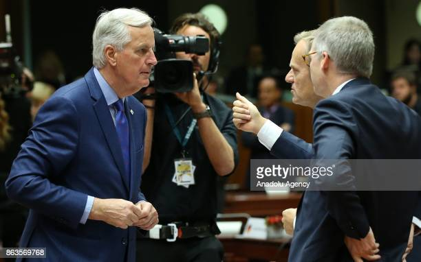 President of the European Council Donald Tusk and European Chief Negotiator for Brexit Michel Barnier attend the European Council Meeting at the...