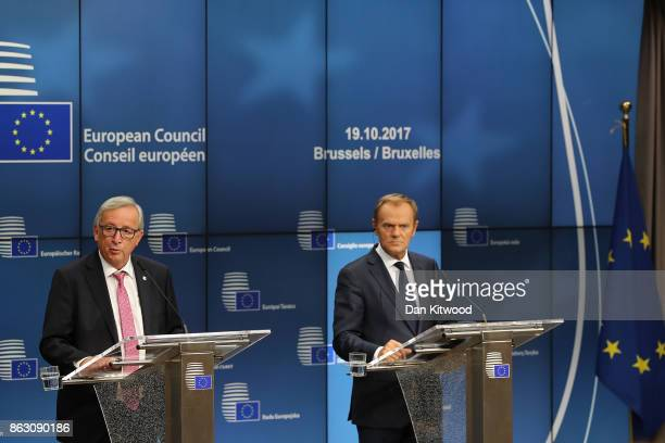 President of the European Council Donald Tusk and President of the European Commission JeanClaude Juncker speak during a press conference after a...