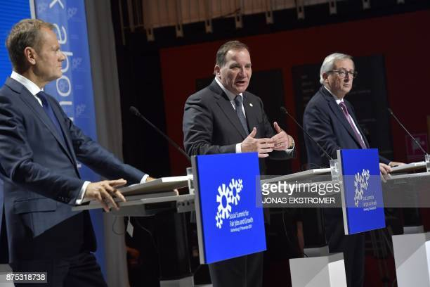 President of the European Council Donald Tusk and Sweden's Prime Minister Stefan Lofven and European Commission President JeanClaude Juncker attend a...