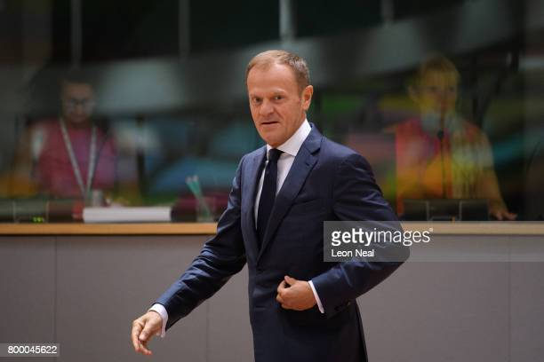 President of the European Council Donald Tusk arrives ahead of a roundtable meeting at the EU Council headquarters on the second day of a two day...