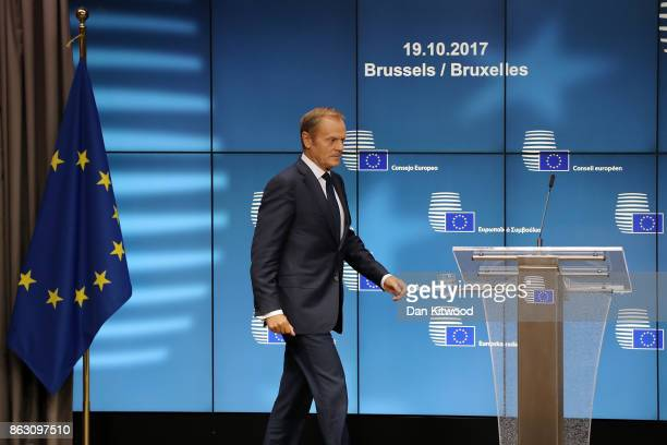 President of the European Council Donald Tusk arrives for a press conference after a European Council Meeting at the Council of the European Union...