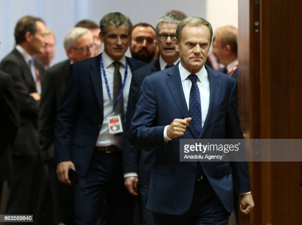President of the European Council Donald Tusk attends the European Council Meeting at the Council of the European Union building on October 20 2017...
