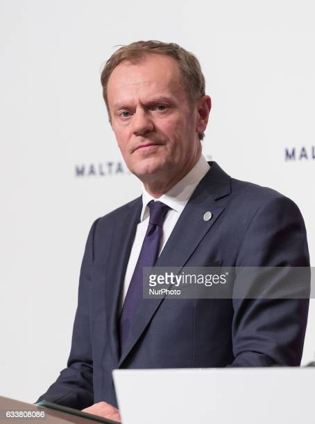 President of the European Council Donald Tusk during the press conference at Mediterranean Conference Centre after the European Council Summit in...