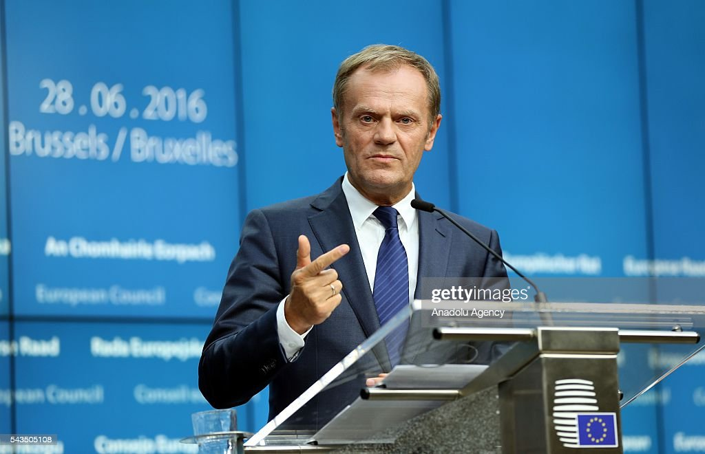 President of the European Council Donald Tusk holds a press conference after EU summit meeting on June 28, 2016 in Brussels, Belgium.