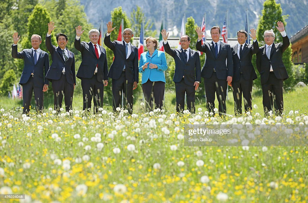 President of the European Council <a gi-track='captionPersonalityLinkClicked' href=/galleries/search?phrase=Donald+Tusk&family=editorial&specificpeople=870281 ng-click='$event.stopPropagation()'>Donald Tusk</a>, Japanese Prime Minister <a gi-track='captionPersonalityLinkClicked' href=/galleries/search?phrase=Shinzo+Abe&family=editorial&specificpeople=559017 ng-click='$event.stopPropagation()'>Shinzo Abe</a>, Canada's Prime Minister <a gi-track='captionPersonalityLinkClicked' href=/galleries/search?phrase=Stephen+Harper+-+Politician&family=editorial&specificpeople=690870 ng-click='$event.stopPropagation()'>Stephen Harper</a>, U.S. President <a gi-track='captionPersonalityLinkClicked' href=/galleries/search?phrase=Barack+Obama&family=editorial&specificpeople=203260 ng-click='$event.stopPropagation()'>Barack Obama</a>, German Chancellor <a gi-track='captionPersonalityLinkClicked' href=/galleries/search?phrase=Angela+Merkel&family=editorial&specificpeople=202161 ng-click='$event.stopPropagation()'>Angela Merkel</a>, French President Francois Hollande, British Prime Minister <a gi-track='captionPersonalityLinkClicked' href=/galleries/search?phrase=David+Cameron+-+Politician&family=editorial&specificpeople=227076 ng-click='$event.stopPropagation()'>David Cameron</a>, Italian Prime Minister <a gi-track='captionPersonalityLinkClicked' href=/galleries/search?phrase=Matteo+Renzi&family=editorial&specificpeople=6689301 ng-click='$event.stopPropagation()'>Matteo Renzi</a> and President of the European Commission <a gi-track='captionPersonalityLinkClicked' href=/galleries/search?phrase=Jean-Claude+Juncker&family=editorial&specificpeople=207032 ng-click='$event.stopPropagation()'>Jean-Claude Juncker</a> pose at the group photo at the summit of G7 nations at Schloss Elmau on June 7, 2015 near Garmisch-Partenkirchen, Germany. In the course of the two-day summit G7 leaders are scheduled to discuss global economic and security issues, as well as pressing global health-related issues,