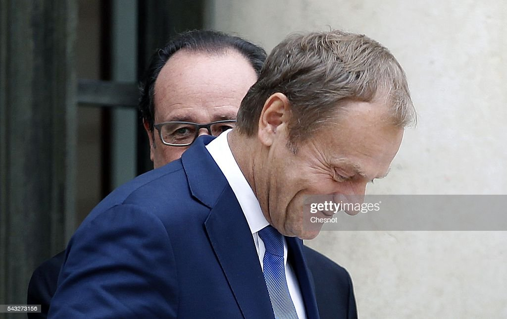 President of the European Council <a gi-track='captionPersonalityLinkClicked' href=/galleries/search?phrase=Donald+Tusk&family=editorial&specificpeople=870281 ng-click='$event.stopPropagation()'>Donald Tusk</a> leaves after a meeting with French President Francois Hollande at the Elysee Presidential Palace on June 27, 2016 in Paris, France. Francois Hollande meets later Monday evening in Berlin, German Chancellor Angela Merkel, <a gi-track='captionPersonalityLinkClicked' href=/galleries/search?phrase=Donald+Tusk&family=editorial&specificpeople=870281 ng-click='$event.stopPropagation()'>Donald Tusk</a> and Italian Prime Minister Matteo Renzi to talk about European situation ahead of an EU-wide summit in Brussels.