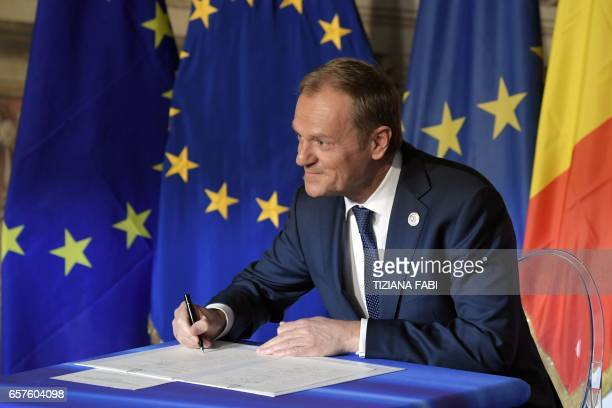 President of the European Council Donald Tusk signs the new Rome declaration with leaders of 27 European Union countries special during a summit of...